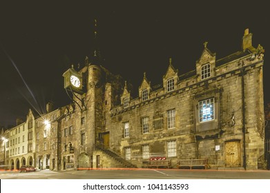 Edinburgh, Scotland - Nov 18, 2017: The People's Story by night, The 16th-century Tolbooth houses a social history museum tracing city life since the late 1700s