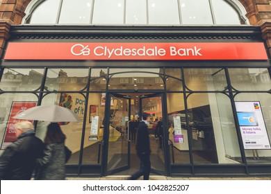 Edinburgh, Scotland - Nov 21, 2017: Entrance to Clydesdale Bank, Branch on St George Street