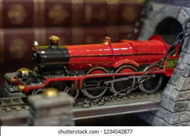 EDINBURGH, SCOTLAND - NOVEMBER 17, 2018: Harry Potter Hogwarts Express toy on sale within the Harry Potter Shop in Victoria Street, Edinburgh. This is an excellent store for all things Harry Potter