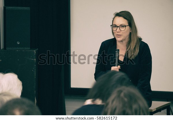 EDINBURGH, SCOTLAND - NOVEMBER 22, 2016: Axelle Lemaire, French Socialist politician who currently serves as a Secretary of State in the French Government. During a talk on BREXIT at French Consulate.