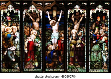 EDINBURGH, SCOTLAND - OCTOBER 02, 2014: Stained glass window in the  St Giles' Cathedral of Edinburgh, Scotland, UK.
