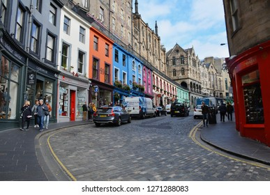 Edinburgh, Scotland - October, 2018:  Victoria Street in the historic center of Edinburg, made famous by the Harry Potter series.