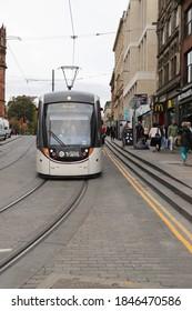 EDINBURGH, SCOTLAND - OCTOBER 22, 2019: A tram on South St Andrew Street in Edinburgh, Scotland