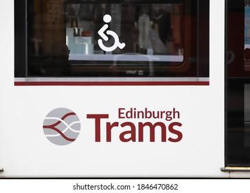 EDINBURGH, SCOTLAND - OCTOBER 22, 2019: A logo on a tram in Edinburgh, Scotland