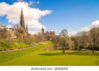 Edinburgh, Scotland. Princess Street Gardens with Scott Monument, on a bright sunny day.