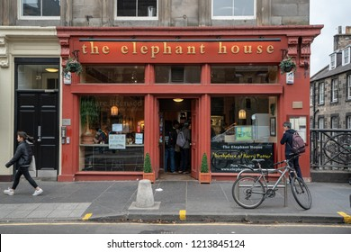 EDINBURGH, SCOTLAND - SEPT. 2018: The Elephant house cafe interior and facade, made famous as the place of inspiration to writer J.K. Rowling, author of Harry Potter.