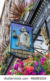 Edinburgh, Scotland - September 12, 2016: Sign at Deacon Brodies Tavern on the Royal Mile. Deacon Brodie was a decent man of business and politics in Edinburgh who had a secret life as a burglar
