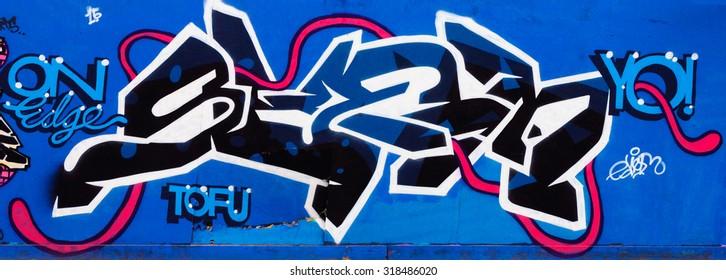 EDINBURGH, SCOTLAND - SEPTEMBER 19, 2015: Street Art Graffiti by unknown artist.