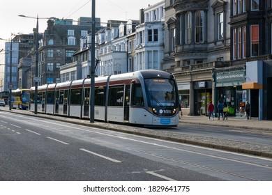 Edinburgh, Scotland - September 20 2020: A tram on Princes street in Edinburgh. It is part of the Edinburgh's public transport