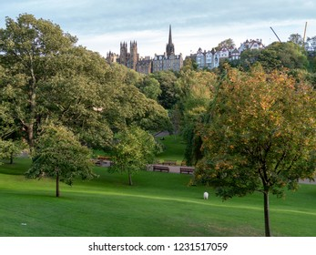 Edinburgh, Scotland - September 27 2018:from the central Princes street Gardens view of some of the city's historic buildings