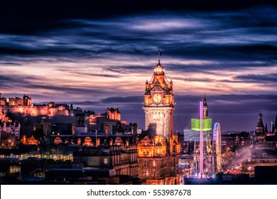 Edinburgh Scotland Skyline at night, viewed from Calton Hill