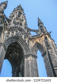 Edinburgh / Scotland / UK - 04/20/2014: Detailed view of Scott Monument, a Victorian Gothic and ornamented monument to Scottish Sir Walter Scott, on Princes Street Gardens, in Edinburgh