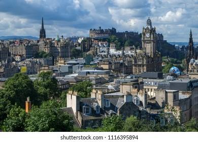 Edinburgh, Scotland UK - 08/01/2016: View of Edinburgh City and Castle from Calton Hill