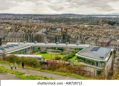 EDINBURGH, SCOTLAND, UK - 16 MARCH 2016: View of the rooftop garden of The Glasshouse Hotel, Greenside Place, Edinburgh.  The Greenhouse is a five star luxury boutique hotel.