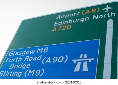 Edinburgh, Scotland , UK - 16 October 2015: Scottish road sign showing Edinburgh Airport A8, A720, Glasgow M8, Forth Road Bridge A90 and Stirling M9