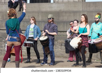 Edinburgh, Scotland / UK - April 28 2019: Drummers rehearsing  their show on Calton Hill for the Beltane Fire Festival