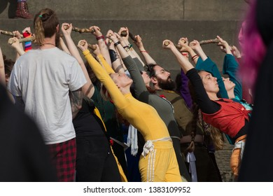 Edinburgh, Scotland / UK - April 28 2019: Acrobats and performers are rehearsing their dances for their show on Calton Hill for the Beltane Fire Festival