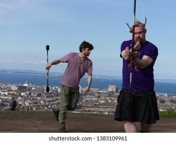 Edinburgh, Scotland / UK - April 28 2019: Performers are rehearsing their dances for their show on Calton Hill for the Beltane Fire Festival