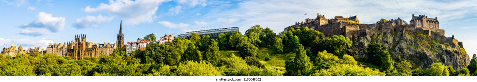 Edinburgh, Scotland, UK - August 25, 2018: Panorama of Edinburgh Castle dominating the skyline of the city of Edinburgh from its position on top of the Castle Rock