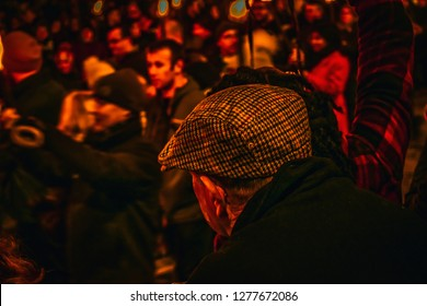 Edinburgh, Scotland / UK - December 30 2018: People attending the Torchlight procession the day before Hogmanay