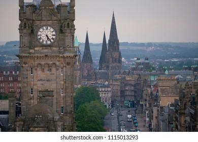 EDINBURGH, SCOTLAND, UK - JUNE 16, 2018: Dawn view of Princes Street in central Edinburgh Scotland UK