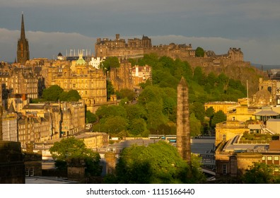 EDINBURGH, SCOTLAND, UK - JUNE 16, 2018: Dawn view from Calton Hill of the Old Town of Edinburgh Scotland UK with Edinburgh Castle prominent in the background