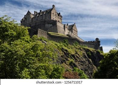 Edinburgh, Scotland, UK - June 7, 2018: National War Museum of Edinburgh Castle fortress on the volcanic plug of Castle Rock in Edinburgh capital city of Scotland United Kingdom
