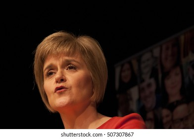 EDINBURGH SCOTLAND UK - October 29 2014: Soon to be Scottish First Minister Nicola Sturgeon address SNP supporters in Edinburgh, Scotland, UK shortly before becoming First Minister of Scotland.