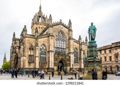 Edinburgh, Scotland, UK - September 16, 2017: St. Gile's Cathedral on the Royal Mile Road, Old Town Edinburgh, Scotland, UK