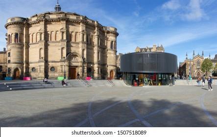 Edinburgh, Scotland / UK - September 16 2019: McEwan Hall and Bristo Square renovation, Edinburgh University by LDN Architects