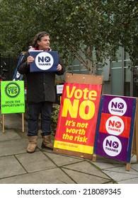 EDINBURGH, SCOTLAND, UK - September 18, 2014 - public expressing their opinion on independence during referendum day in Edinburgh