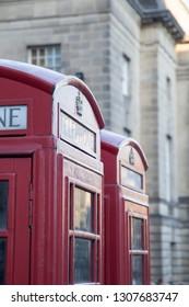 Edinburgh, Scotland UK: Telephone Booths down the Royal Mile on January 20,2018, Edinburgh, Scotland UK