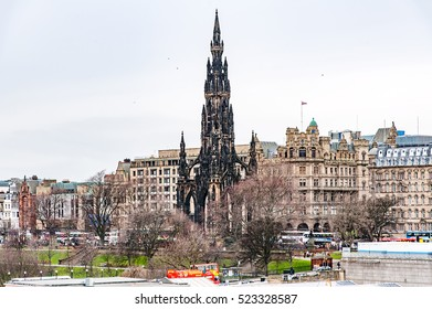 Edinburgh, Scotland, UK-circa July 2016:View of the city, several monuments and the Castle, Edinburgh, Scotland