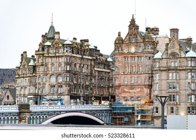 Edinburgh, Scotland, UK-circa July 2016:View of the city, several monuments and the Castle, Edinburgh, Scotland