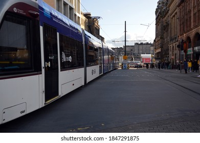 EDINBURGH. SCOTLAND. UNITED KINGDOM. 12-10-19. St. Andrew Street in the city centre a tram heading for the nearby tram terminus.