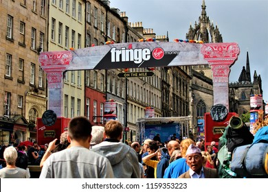 Edinburgh, Scotland / United Kingdom - August 14 2018: The Fringe Festival is the largest arts festival in the world making it a widely popular tourist destination