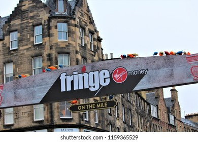 Edinburgh, Scotland / United Kingdom - August 14 2018: Fringe is the largest arts festival in the world drawing in many tourists
