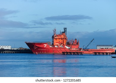 Edinburgh, Scotland / United Kingdom - January 1 2019: A Subsea 7 Oil ship is docked at the Edinburgh harbour of Leith for servicing.