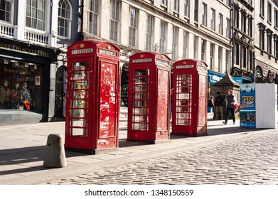 Edinburgh, Scotland / United Kingdom - May 2, 2018: Iconic phonebooths in Edinburgh downtown