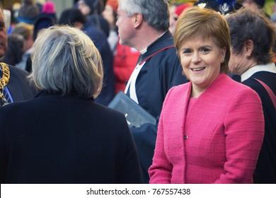 EDINBURGH, SCOTLAND, USA - NOVEMBER 29, 2017 : Nicola Sturgeon attending a service for Dr Elsie Inglis's memorial in St Giles Cathedral. HRH Princess Anne was also present.