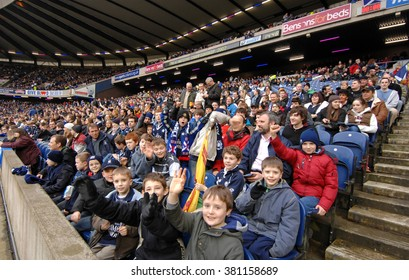 EDINBURGH, SCOTLAND-FEBRUARY 24, 2007: scottish rugby fans attending the Six Nations rugby match Scotland vs Italy, at the Murrayfield stadium, in Edinburgh.