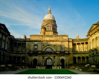 Edinburgh, Scotland--July 14, 2015 The courtyard area of the University of Edinburgh is one of the most popular places on campus.