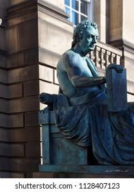 EDINBURGH, SCOTLAND-SEPTEMBER 22: Statue of David Hume, philosopher, is seen on Royal Mile in Edinburgh, Scotland, Uk on September 22, 2017.