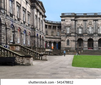 EDINBURGH - SEPTEMBER 2016:  The classical stone campus of the University of Edinburgh's Old College is located on a quadrangle that dates from the mid-1700s, as seen in Edinburgh circa 2016.