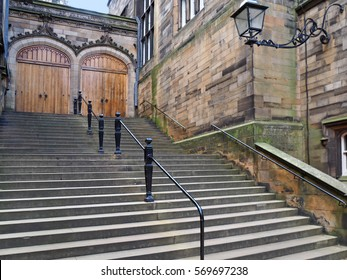EDINBURGH - SEPTEMBER 2016: University of Edinburgh, old gothic style building with stone staircase, as seen in Edinburgh circa 2016.