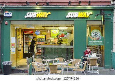 EDINBURGH - SEPTEMBER 22: A Subway fast food outlet on September 22, 2012 in Edinburgh, Scotland. Subway is the world's largest single restaurant chain with 38,181 restaurants.