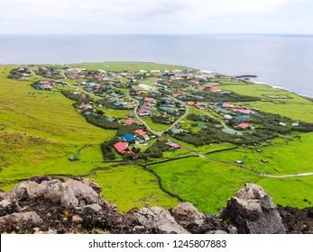 Edinburgh of the Seven Seas town aerial panoramic view, Tristan da Cunha, the most remote inhabited island, South Atlantic Ocean, British Overseas Territory.