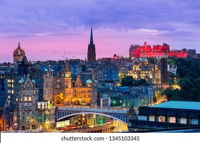 The Edinburgh skyline with the Edinburgh castle in the background. Photographed from Calton Hill just after sunset.