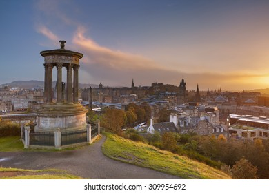 The Edinburgh skyline with the Edinburgh castle in the background. Photographed from Calton Hill at sunset.