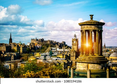 Edinburgh skyline as seen from Calton Hill Edinburgh Dugald Stewart monument with Edinburgh Castle on background